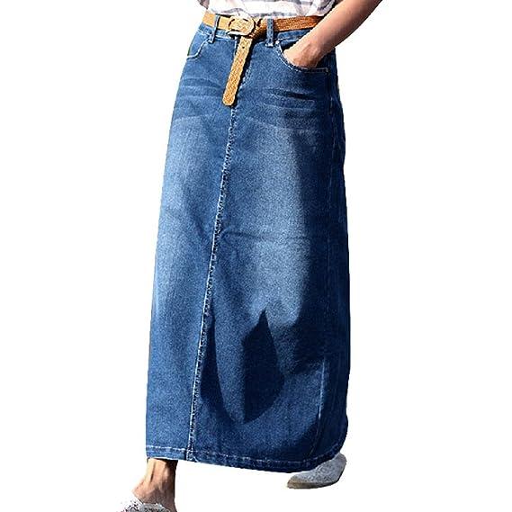 NiSeng Mujeres Casual Falda De Mezclilla Largo Falda Vaquera Jeans ...