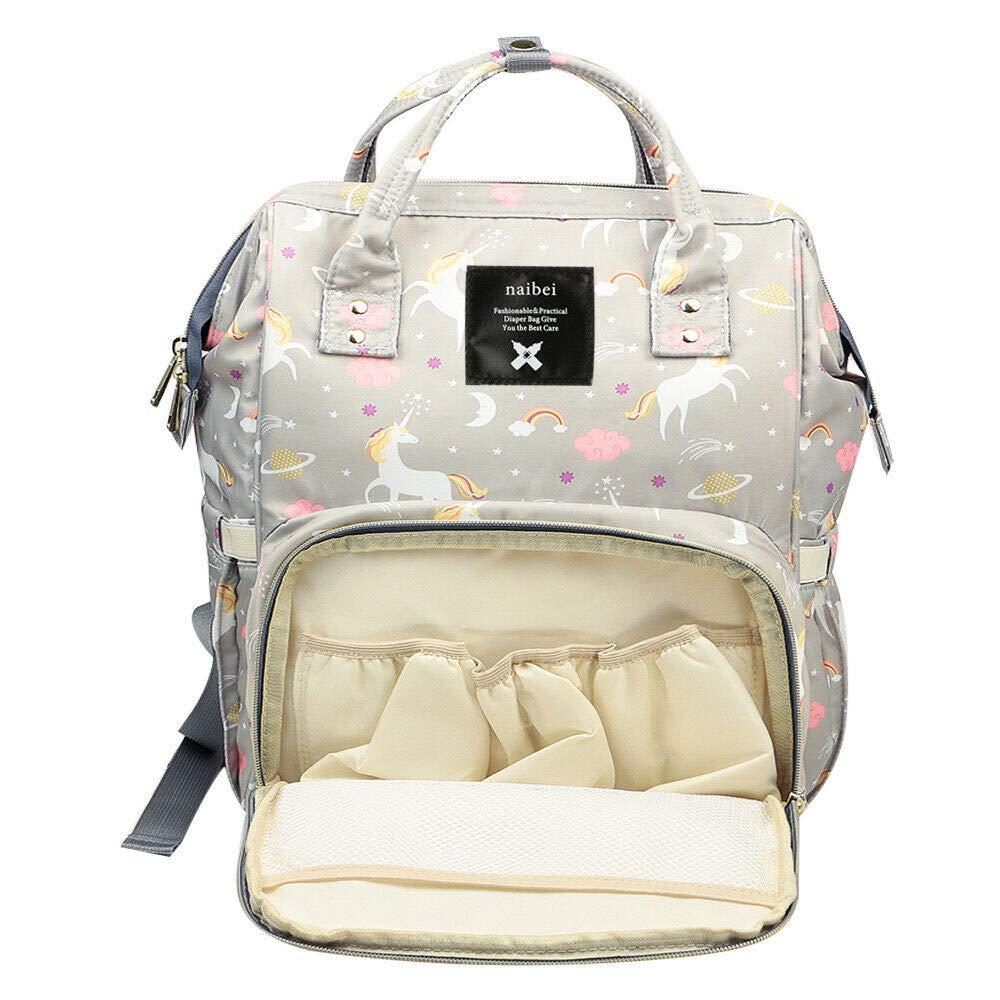 UK Large Mummy Nappy Diaper Bag Baby Travel Changing Nursing Backpack Waterproof Grey