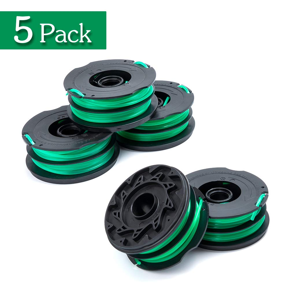 FutureWay String Trimmer Replacement Spool Line 0.08'' GH1100 GH1000 GH2000, Dual Line Weed Trimmer Spool 30ft Compatible with Black Decker DF-080, Cordless Trimmer Edger Replacement (5 PCS)