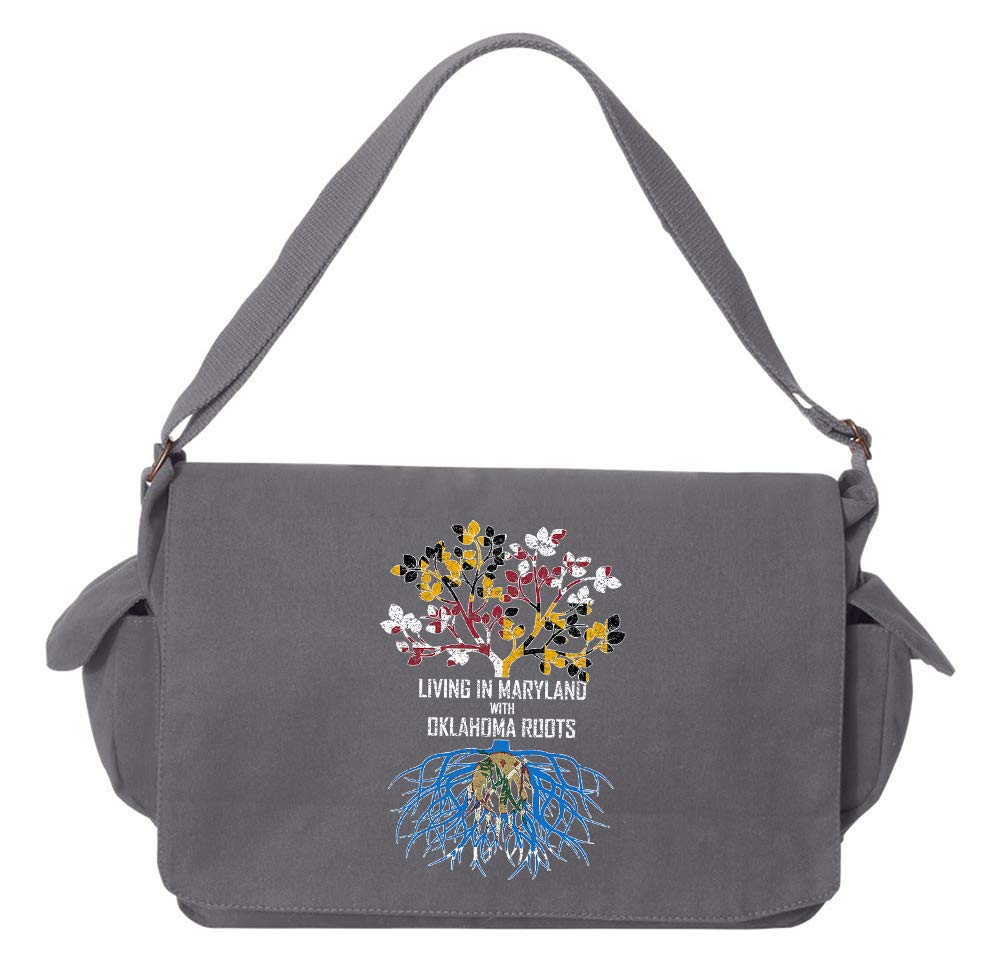 Tenacitee Living In Maryland with Oklahoma Roots Grey Brushed Canvas Messenger Bag