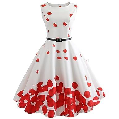 f1ddc1a6d01 vmree Women Vintage 1950 s Audrey Hepburn Style Dress Petal Print Waisted  Rockabilly Swing Sundress (White
