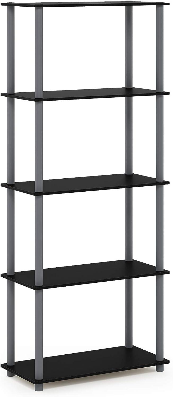Furinno Turn-N-Tube 5-Tier Multipurpose Shelf Display Rack, Single, Black/Grey