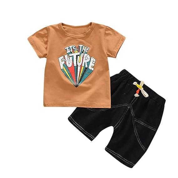 PAOLIAN Ropa para Niños Recien Nacidos Conjuntos Ropa para Niños Babe para  Verano Manga Corta Camisetas ... a242b69c0e0