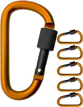 Outdoor Saxx® - 5 mosquetones de rosca grandes, ganchos de mosquetón para fijación de equipo, aluminio, 8 cm, naranja, negro, 5 unidades.