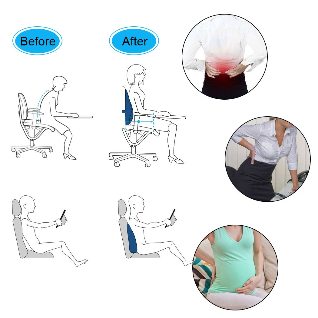 Amazon.com : Lumbar Support Cushion Back Pillow- Orthopedic Design Provides Low Back Support with Adjustable Straps for Car, Office Chair and Wheelchair ...