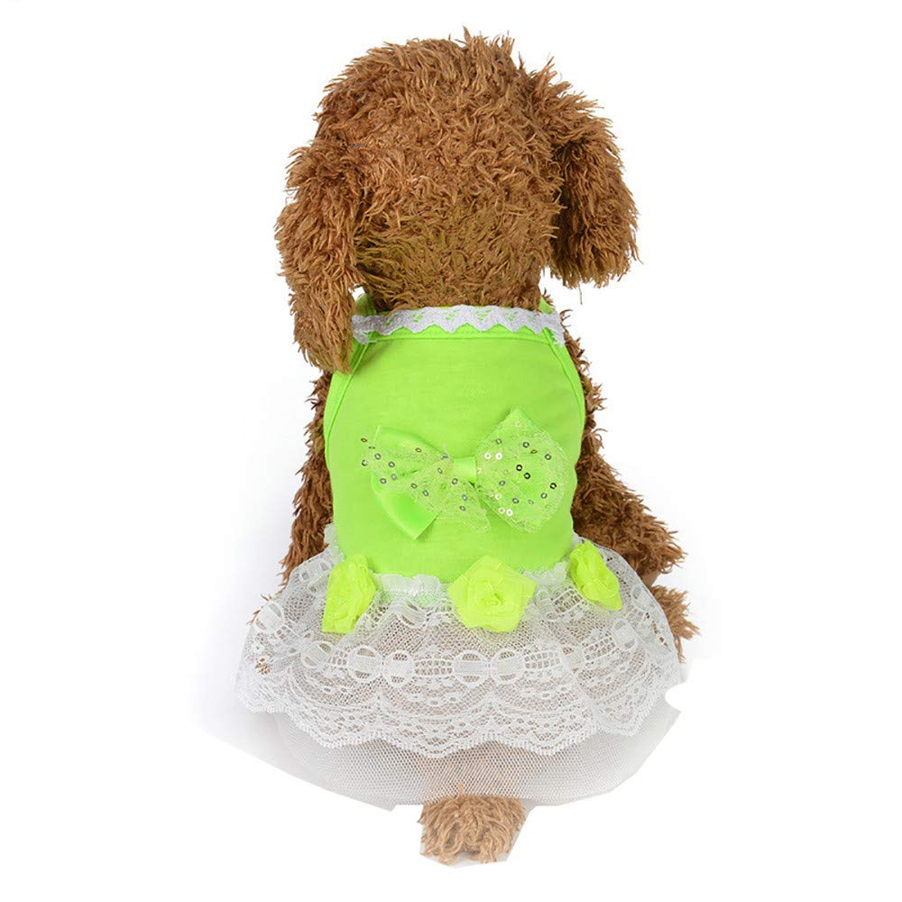 FTXJ Pet Dress Dog Cat Bow Tutu Dress Lace Skirt Pet Puppy Dog Princess Costume Apparel Clothes (M, Green)