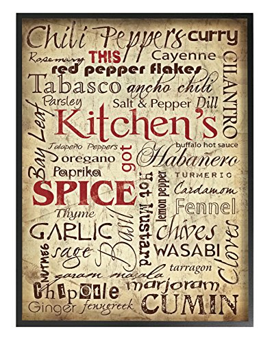 The Stupell Home Decor Collection Kitchen Spices Typography Oversized Framed Giclee Texturized Art (Wall Kitchen Mounted 944)