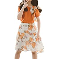 iiniim Kids Girls Teens Off-Shoulder Bowknot Shirt Tops with Layered Chiffon Floral Skirts Outfit Summer Clothes Set