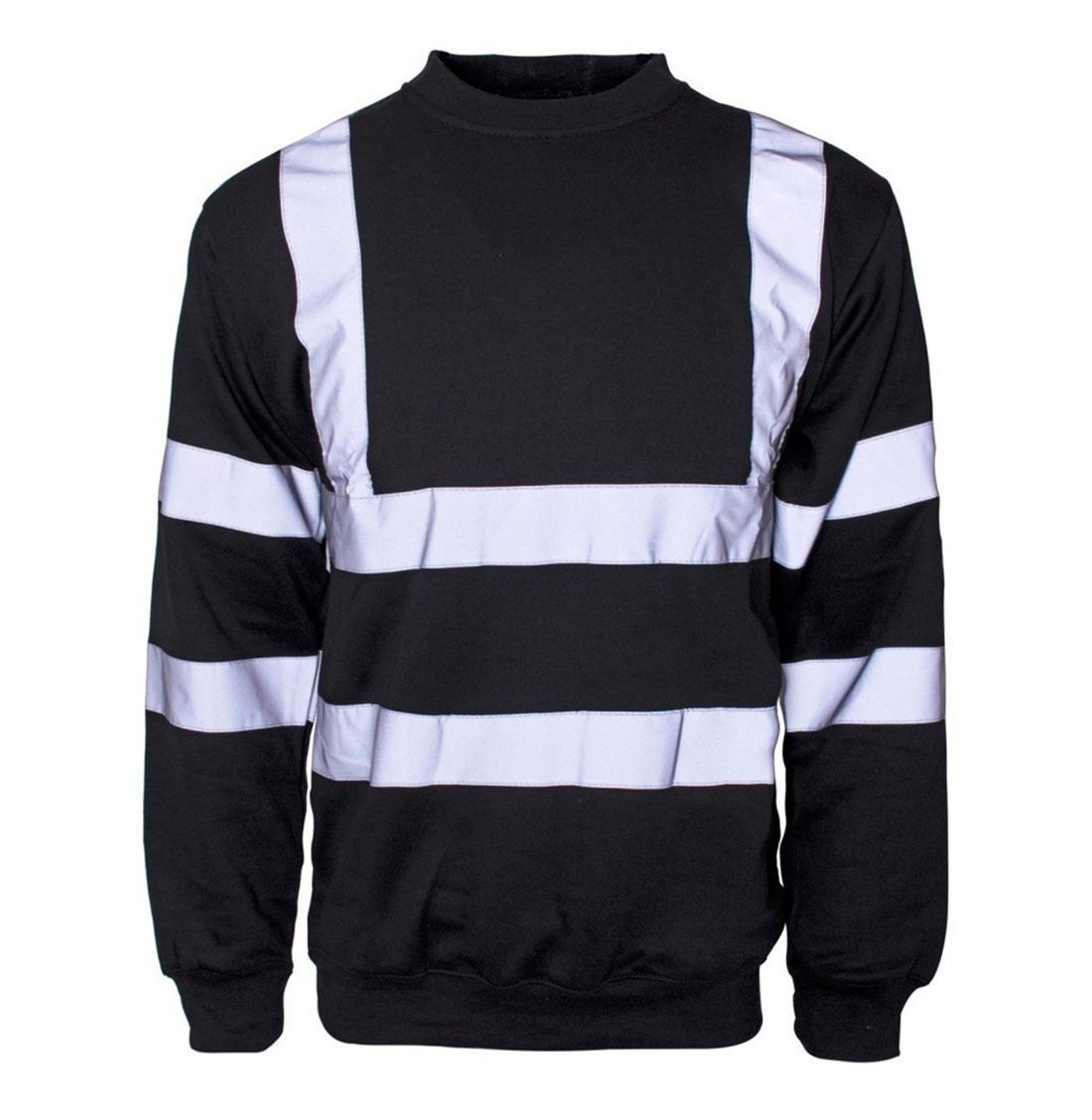 Mens Long Sleeve Hi Vis Sweatshirt with Ribbed Hem Neck Adults Work Wear Top Black Medium