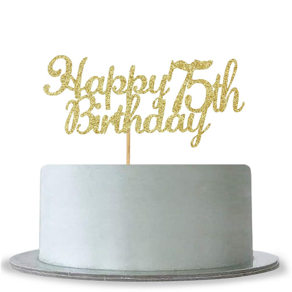 Amazon WeBenison Happy 75th Birthday Cake Topper Gold Glitter Hello 75 Fabulous Anniversary Party Decoration Kitchen Dining