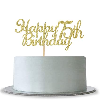 Image Unavailable Not Available For Color WeBenison Happy 75th Birthday Cake Topper Gold