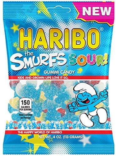 New Haribo The Smurfs Sour! Gummi Candy 4 oz Bag