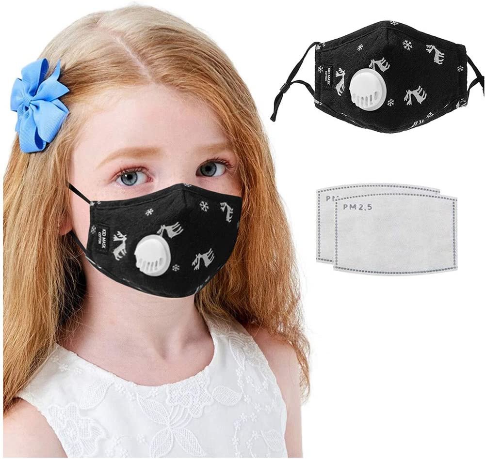 US Fast Shipment 4PC Kids Washable Reusable Face M/àsc with 8PC Filter and Detachable Transparent Eye Window for Boys Girls Face Bandanas