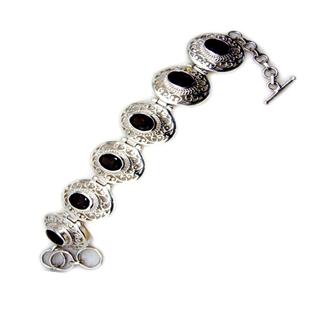 Genuine Oval Shape Smoky Quartz 925 Sterling Silver Vintage Style Bracelet For Gift Length 6.5-8 Inches
