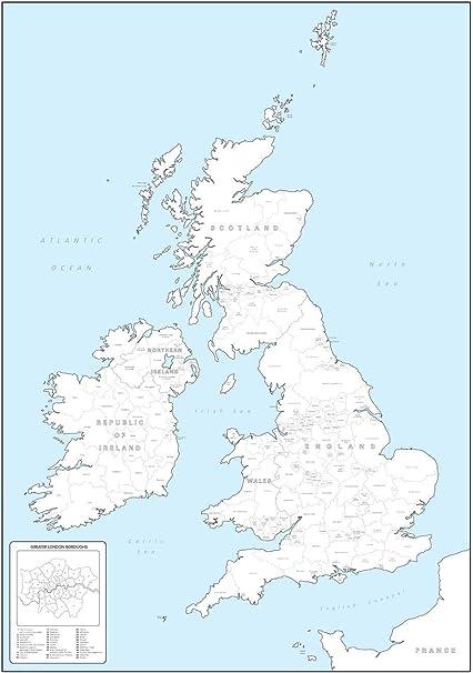 Regno Unito Cartina Da Colorare.Cartina Da Colorare Con Le Contee E Le Regioni Delle Isole Britanniche 49 5 X 70 5 Cm Carta Opaca Amazon It Amazon It