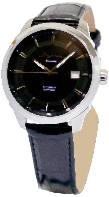 Rhythm自動シリーズの機械メンズ時計withレザーストラップ、ブラックプレートa1302l02 B00GQRO54S