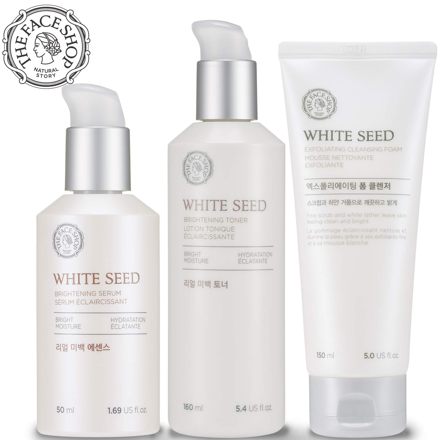 [THEFACESHOP] Korean Skin Care Set - Toner, Serum, and Cleansing Foam Brightening White Seed Gift Set