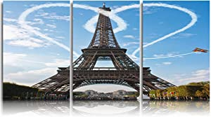 DOME-SPACE 3 Panel Canvas Wall Art Prints Painting Paris Eiffel Tower Romantic Heart Shape in The Blue Sky Modern Home Decor Stretched and Framed Ready to Hang - 16