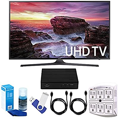 "Samsung UN55MU6290 54.6"" LED 4K UHD Smart TV Bundle includes TV, 2 HDMI Cables, 16GB Flash Drive, Screan Cleaner, Surge Adapter, and HD Digital TV Tuner with Recording"