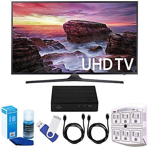 Samsung UN55MU6290 54.6″ LED 4K UHD Smart TV Bundle includes TV, 2 HDMI Cables, 16GB Flash Drive, Screan Cleaner, Surge Adapter, and HD Digital TV Tuner with Recording