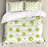 Animal Duvet Cover Set Queen Size by Ambesonne, Cute Illustration of Frog Prince on Heart Dotted Retro Background Love Romance, Decorative 3 Piece Bedding Set with 2 Pillow Shams, Green Red White