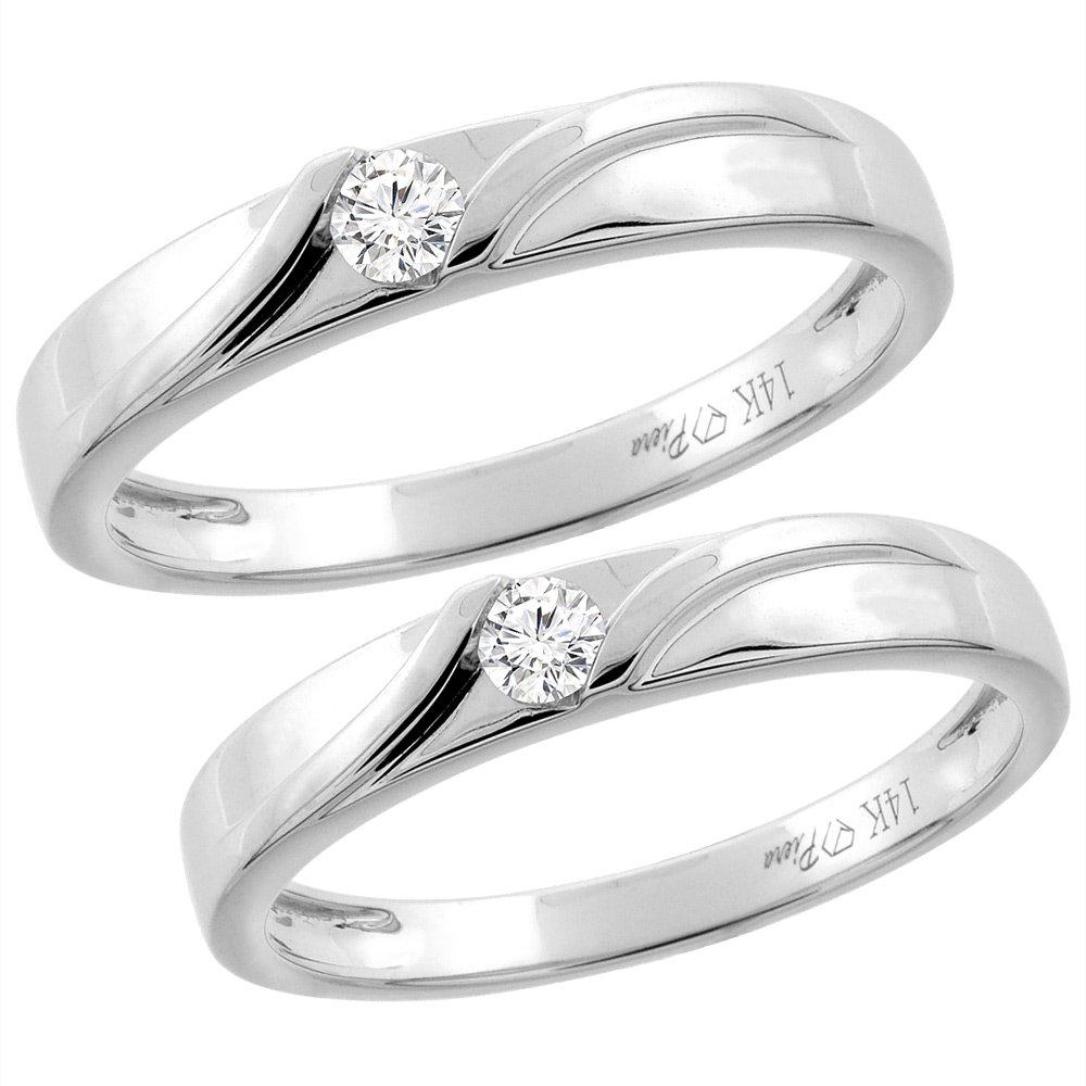 14K White Gold 2-pc Diamond Wedding Ring Set 3.5 mm His & 3 mm Hers, L 5-10 & M 8-14, size 10