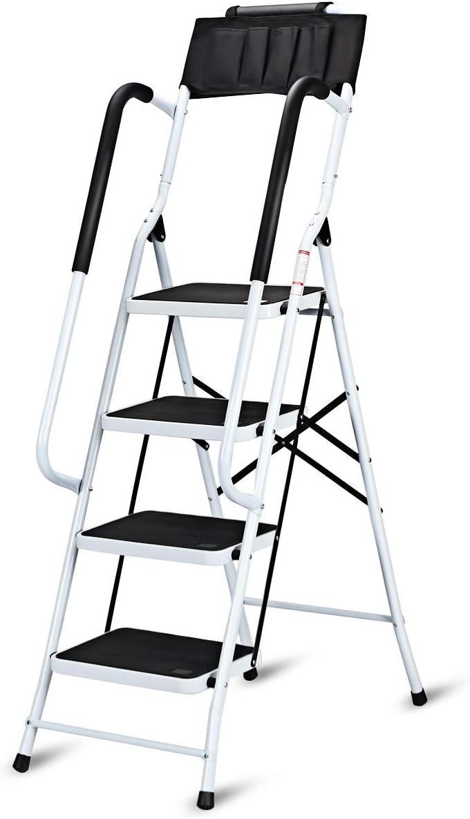 COSTWAY Escalera de Tijera Plegable con Barandilla Escalera de 4 Peldaños Metal Cierre de Seguridad: Amazon.es: Bricolaje y herramientas