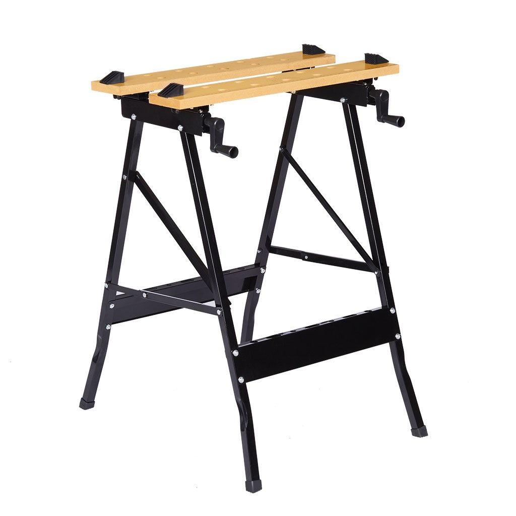 Finether Folding Work Bench with Vice Multipurpose Sawhorse Heavy Duty legs Portable Work Table with Clamp Pegs and Tool Holders 330lbs 150kg Capacity