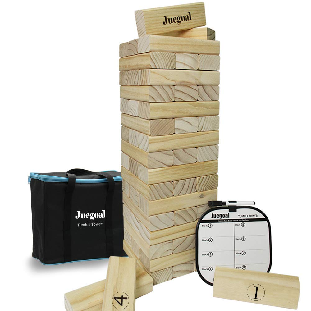 Juegoal 54 Piece Giant Tumble Tower, Wooden Toppling Tower Block Game with Gameboard, Canvas Bag for Outdoor Yard Kids Adults Playing, 7.1 x 7.2 x 25.2 Inches by Juegoal