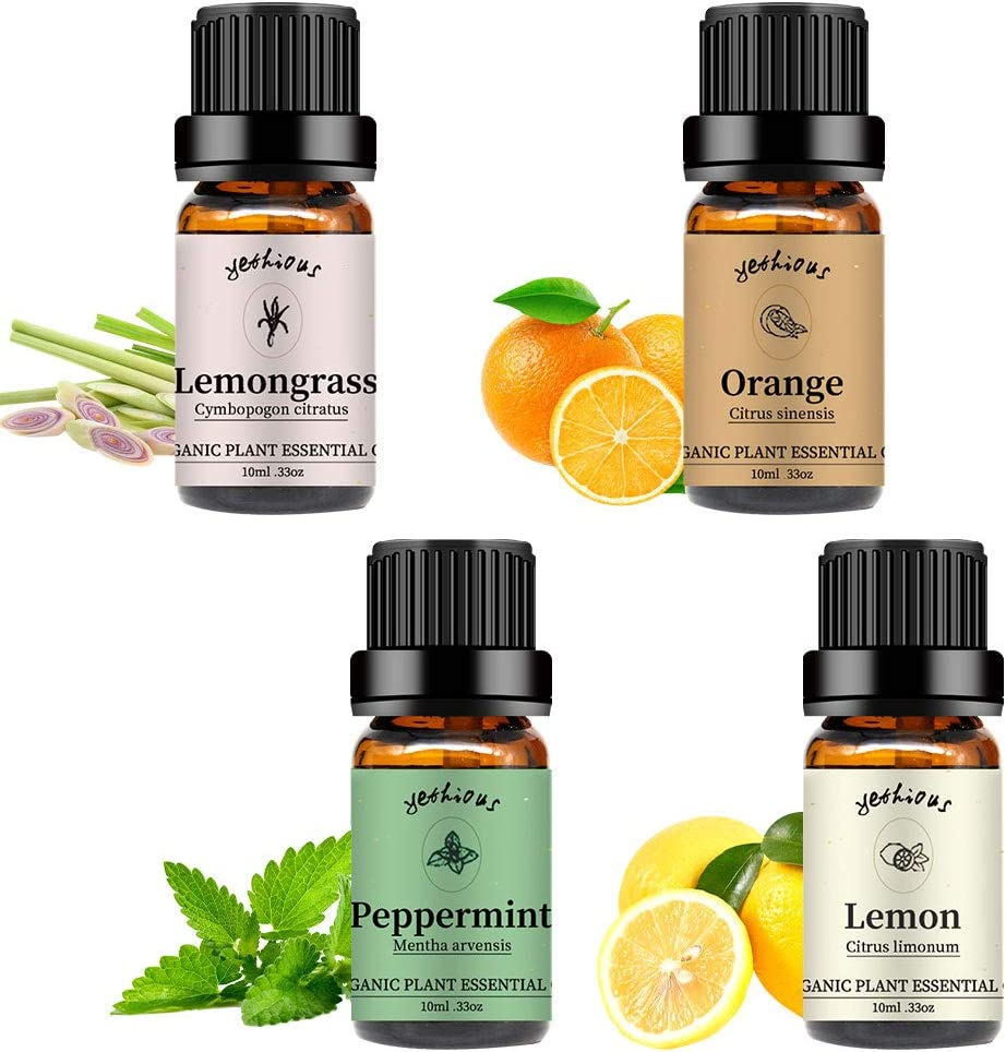 Yethtious Orange Lemon Peppermint Lemongrass Essential Oil Set 100% Pure 4 Pack Aromatherapy Gift Oils Kit for Message Mother's Day