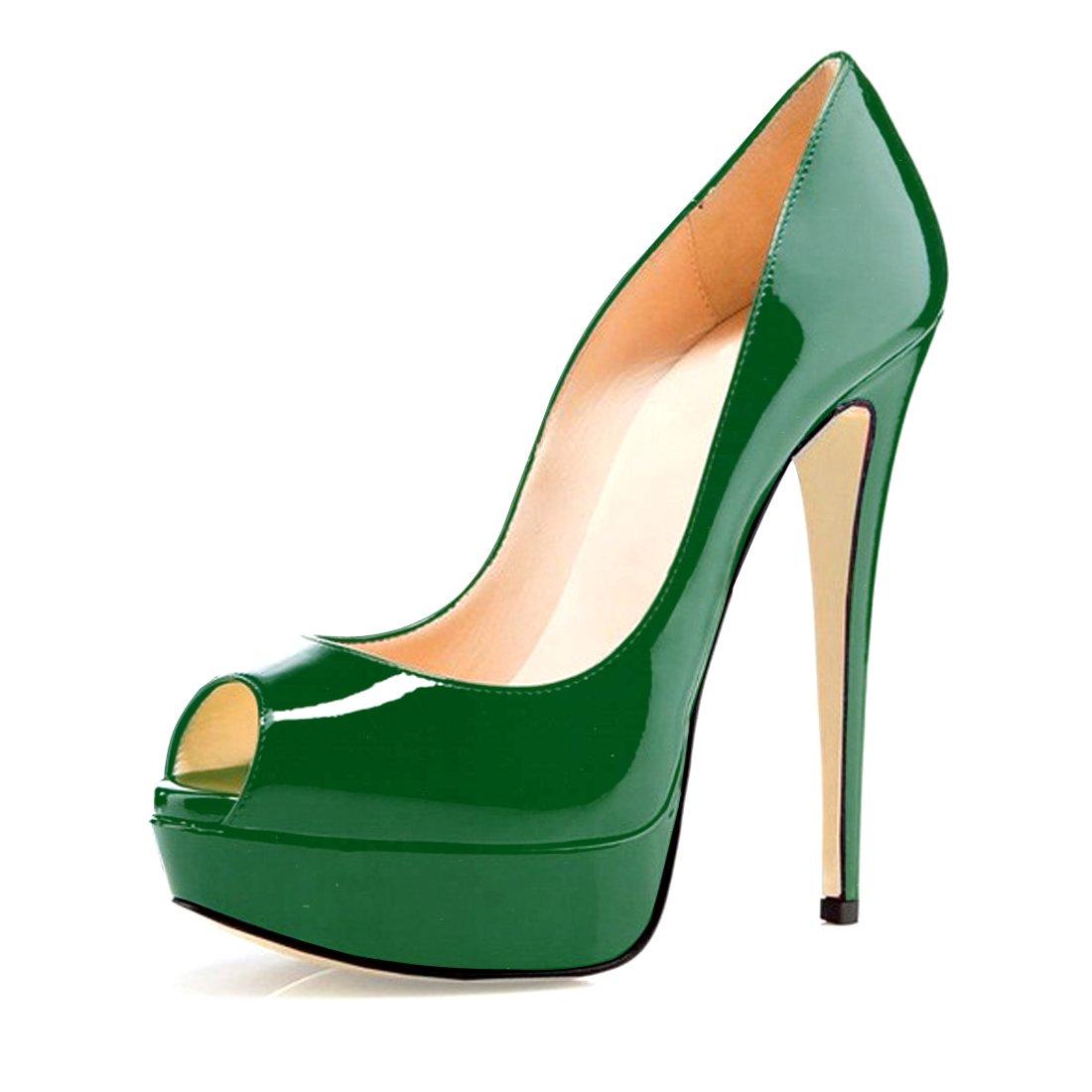 Soireelady - Zapatos con tacón Mujer 35 EU|Verde