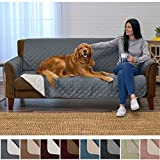 Home Fashion Designs Deluxe Reversible Quilted Furniture Protector and PET Protector. Two Fresh Looks in One. Perfect for Families with Pets and Kids Brand. (Sofa/Couch - Charcoal/Beige)