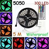 Led Strip Lights Kit Waterproof SMD 5050 16.4 Ft (5M) 300leds RGB 60leds/m with 44key Ir Controller and Power Supply for Trucks Boats Kicthen Bedroom and Sitting Room KULED A05 (5M 300LEDs)
