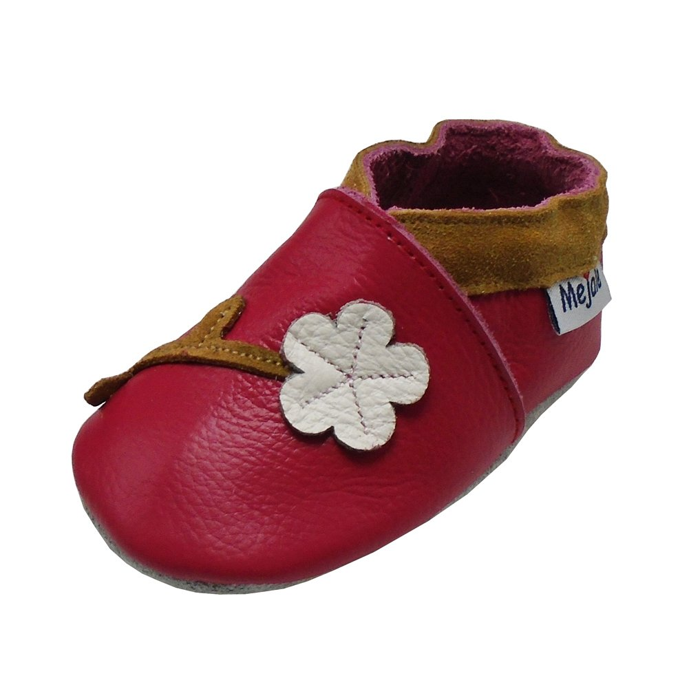 Mejale Baby Shoes Soft Sole Leather Moccasins Cartoon Flower Infant Toddler First Walker Slippers