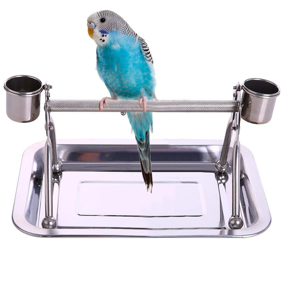 Bird Tabletop Perch Stand Stainless Steel Play Gym Playstand with Cups and Tray for Budgie Parakeet Cockatiel Conure (S) by Wontee