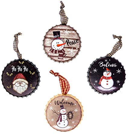 harbor 55 christmas snowman ornament decorations set of 4 metal bottle caps painted