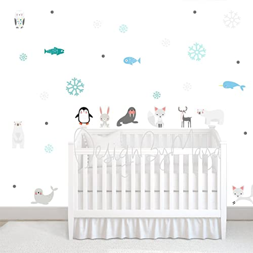 Arctic Animals, Baby Wall Decals, Modern Decor Baby Room, Baby Nursery Art,