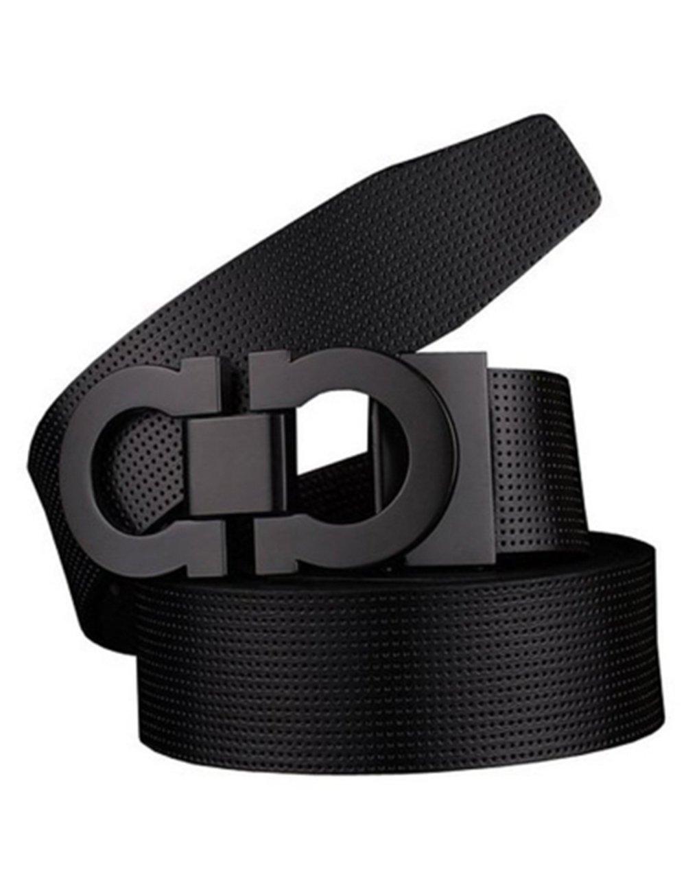 Men's Smooth Leather Buckle Belt 35mm Leather up to 42inch (105-115cm for Choose) 110cm Black-Black