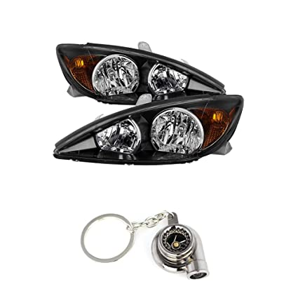 Amazon.com: Toyota Camry OEM Style headlights With Black Housing+ Free Gift Key Chain Spinning Turbo Bearing: Automotive
