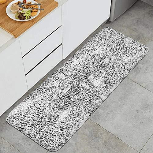 Kitchen Mat Gray Snake Texture Simple Being Anti Fatigue Floor Mat Comfort Create Ergonomic Non-Toxic Waterproof PVC Non Slip Washable for Indoor Outdoor Home (17.7