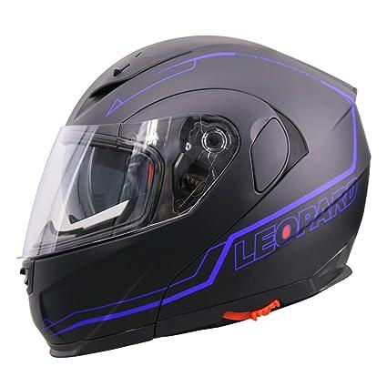 Amazon.es: Leopard LEO-838 Cascos Modulares de Moto Motocicleta ECE 22-05 Aprobado Doble Visera - Negro Mate/Azul M (57-58cm)
