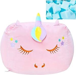 Yoweenton Girls Unicorn Bean Bag Chair with Foam Filling,Girls Room Decor Giant Beanbag Sofa Stuffed Toy Gift for Kids,Soft Velvet Fabric