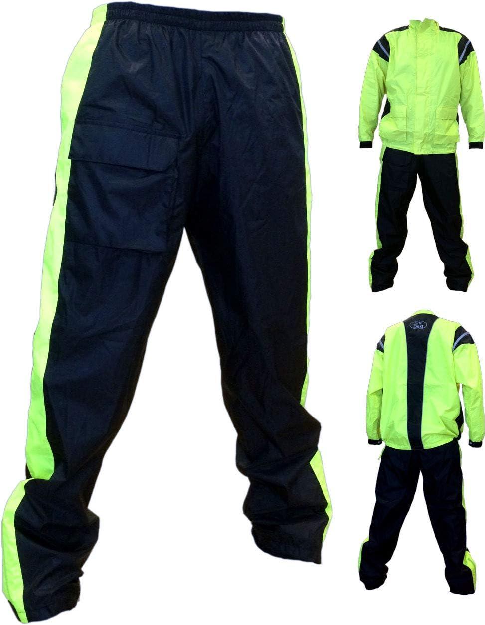AMAS The Best COMPLETO GIACCA+PANTALONE ANTIACQUA NERO//FLUO 100/% IMPERMEABILE in NYLON PVC SPALMATO s, solo pantalone