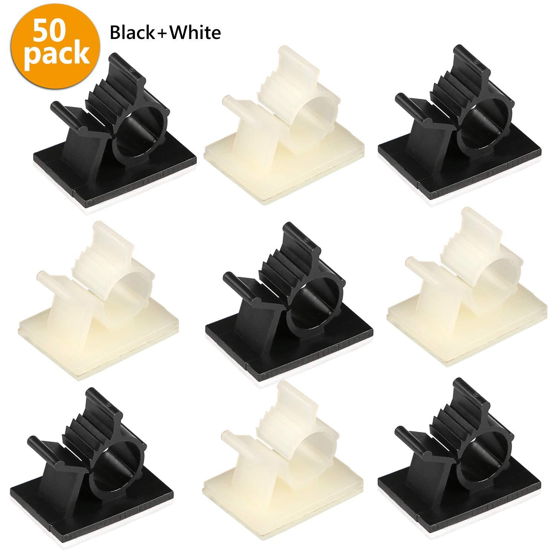 50 Stü ck Kabelklemme Management Kabelbefestigung Drahthalter mit Klebstoff Gesicherte Unterlage (25x schwarz und 25x weiß e) Gifort