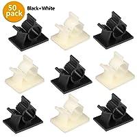 50 Stück Kabelklemme Management Kabelbefestigung Drahthalter mit Klebstoff Gesicherte Unterlage (25x schwarz und 25x weiße)