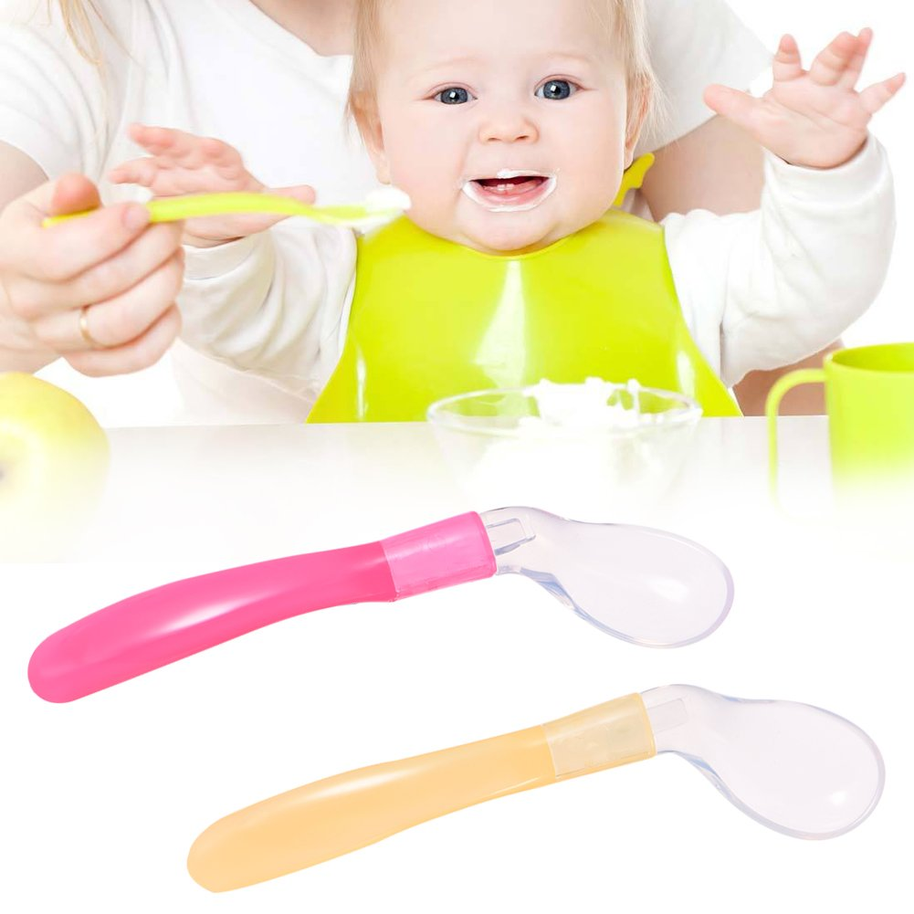 Luerme Soft Tip Weaning Spoon Curve Design BPA Free Pack of 2 Baby Kids Training Feeding Spoon