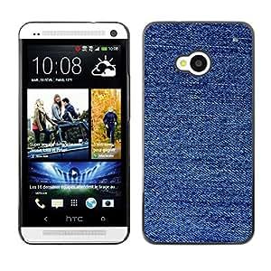 TopCaseStore / la caja del caucho duro de la cubierta de protección de la piel - Fabric Fashion Blue Pattern - HTC One M7