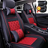 Super PDR 11 Pcs Universal Fit Car Auto Front Rear Seat Covers 5 Seats Full Set Ice Silk PU Fabric Seat Cushion With Composite Sponge Inside, Airbag Compatible (Black&Red)