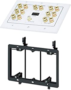 iMBAPrice Premium 3-Gang Home Theater 7.1 Surround Sound Distribution Wall Plate for 7 Speakers, 1 RCA Jack for Subwoofer & 1 HDMI Port with Ethernet + Mounting Bracket