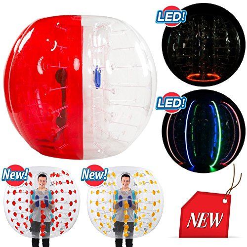 SELF 5ft Diameter, Bubble Soccer Ball, Human Hamster Zorb Ball for Kids Adults Parties Rentals (Red and Clear) (Print Soccer Ball)
